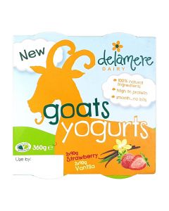 Delamere Dairy Strawberry and Vanilla 4 Pack Goats Yoghurt 4x90g