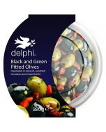 Delphi Black And Green Pitted Olives marinated in Olive Oil Gluten and Dairy Free Vegan