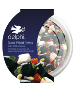 Delphi Black Olives with White Cheese Sweet Peppers and Mixed Herbs Gluten Free