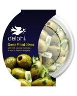 Delphi Green Pitted Olives with Fresh Coriander Dill and Garlic Gluten and Dairy Free Vegan
