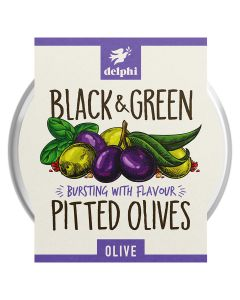 Delphi Black And Green Pitted Olives Gluten And Dairy Free Vegan 160g