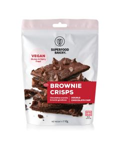Superfood Bakery Vegan Brownie Crisps Double Chocolate Chip 110g